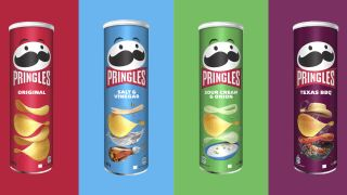 Four of the new Pringles cans.