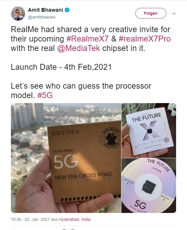 Amit Bhawani's tweet mentioning Realme X7 launch date