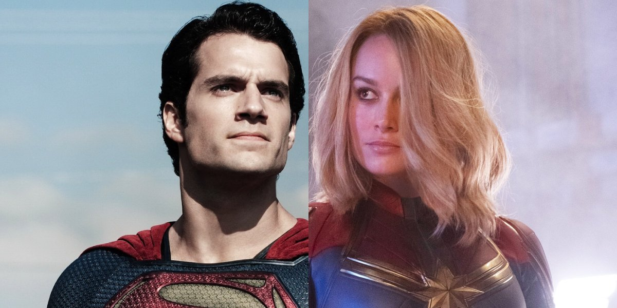 Henry Cavill as Superman and Brie Larson as Captain Marvel