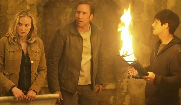 National Treasure Diane Kruger Nicolas Cage Justin Bartha hunting treasure in a crypt