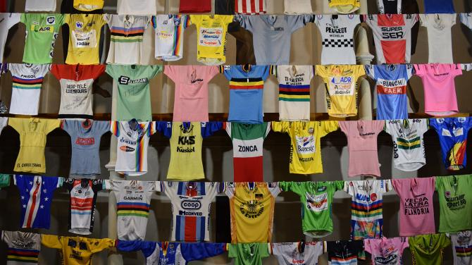 A vast array of historic jerseys decorate the wall at the head of the church interior