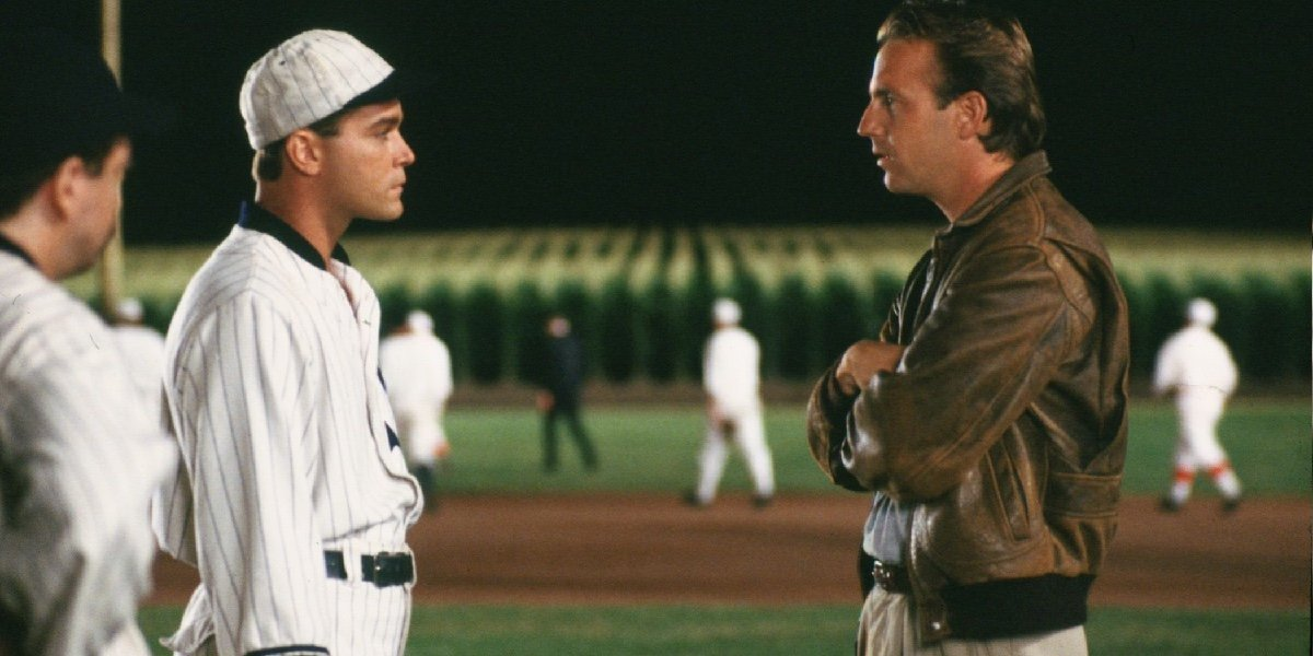Ray Liotta as Shoeless Joe Jackson and Kevin Costner as Ray Kinsella in Field of Dreams.