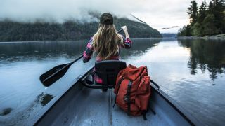 how to use a dry bag: canoe on a lake