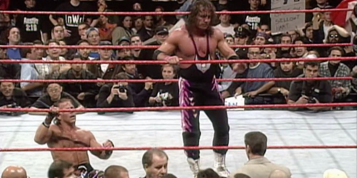 Shawn Michaels, Bret Hart, and Vince McMahon at Survivor Series 1997, aka The Montreal Screwjob