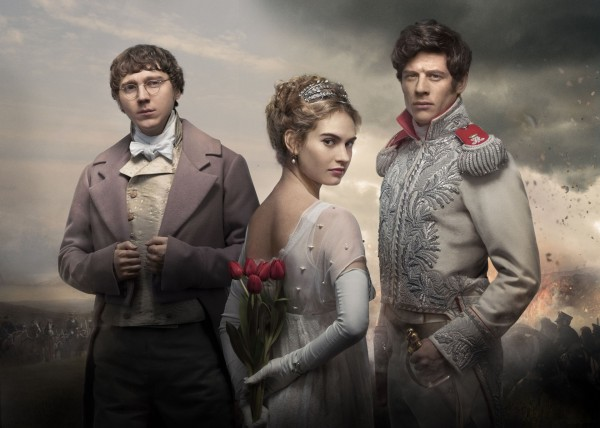 James Norton as Prince Andrei, Lily James as Natasha Rostov, Paul Dano as Pierre Bezukhov in the BBC's War & Peace