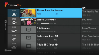 The EPG looks very similar to past iterations, but scroll left and you can access catch-up services
