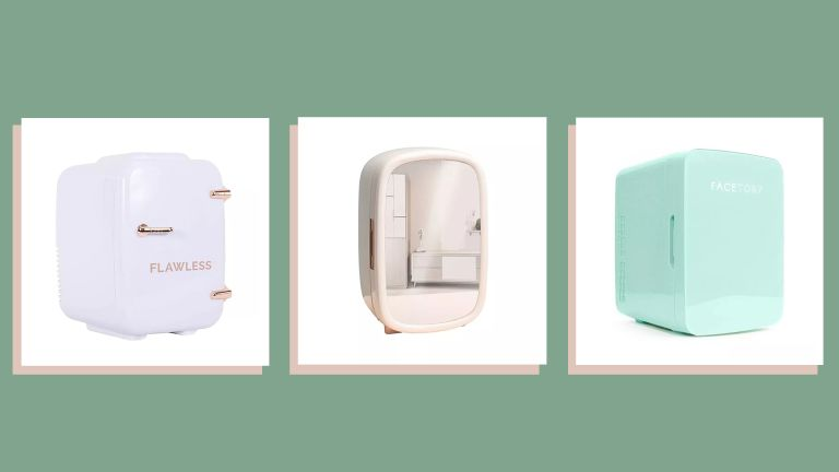 three of w&h's picks for skincare fridges on a green background