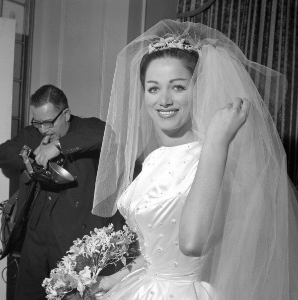 Jackie Collins aged 22 at her London wedding to Wallace Austin
