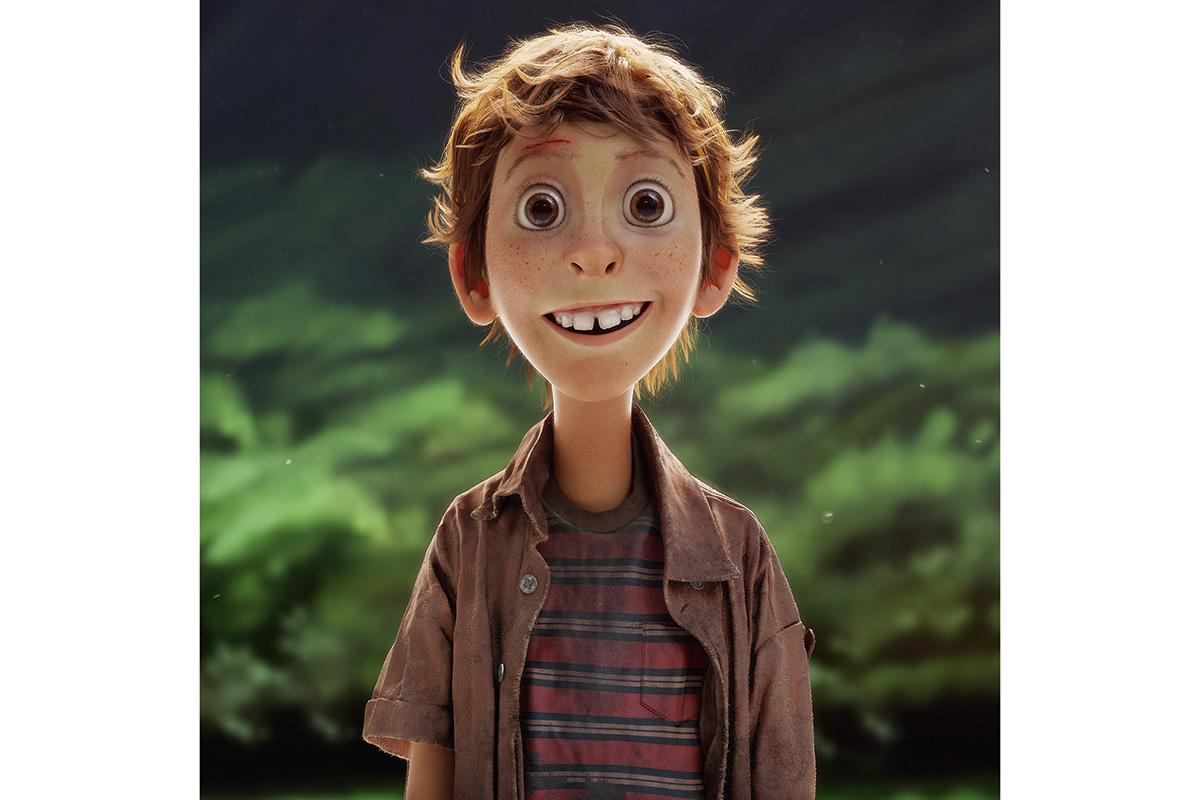 A skinny CGI boy smiles