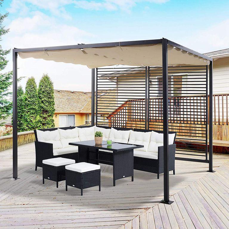 Backyard seating underneath modern gazebo