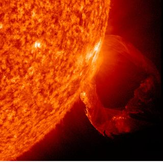 NASA's Solar Dynamics Observatory spacecraft captured this eruption from March 19, 2011 as a prominence became unstable and blasted into space with a distinct twisting motion.