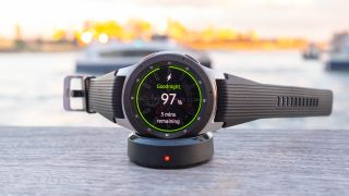 The Samsung Galaxy Watch uses a proprietary charger
