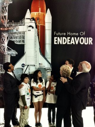 Los Angeles Mayor Antonio Villaraigosa (at left) joined others on May 17, 2012 at the California Science Center to name the new and future home of NASA's space shuttle Endeavour for the late Samuel Oschin, an entrepreneur, explorer and philanthropist.