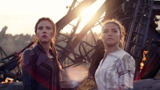 Scarlett Johansson (left) as Black Widow/Natasha Romanoff and Florence Pugh as Yelena in Marvel Studios' 'Black Widow'