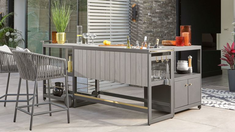 outdoor fridge ideas freestanding outdoor kitchen and bar on a patio with cabinets, drinks cooler