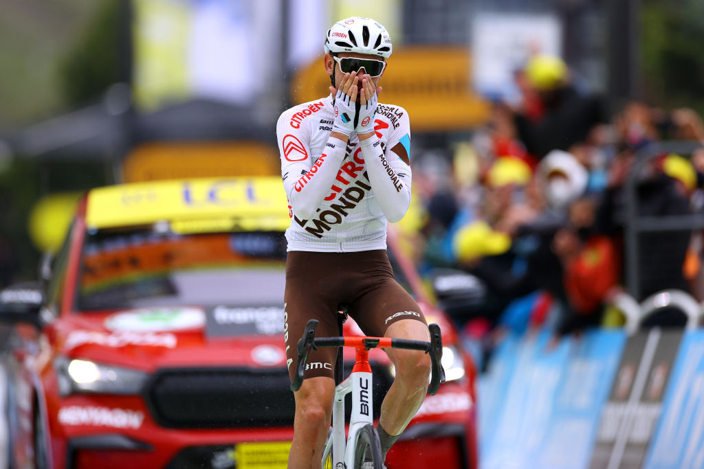 TIGNES FRANCE JULY 04 Ben Oconnor of Australia and AG2R Citron Team stage winner celebrates at arrival during the 108th Tour de France 2021 Stage 9 a 1449km stage from Cluses to Tignes Monte de Tignes 2107m LeTour TDF2021 on July 04 2021 in Tignes France Photo by Tim de WaeleGetty Images