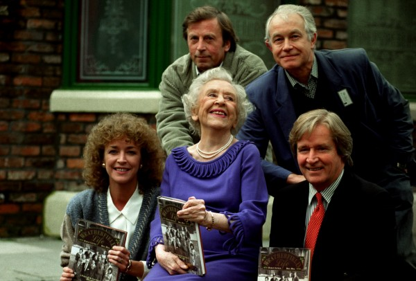 Anne kirkbride, Doris Speed and Bill Roache, with Ken Farrington and Alan Rothwell