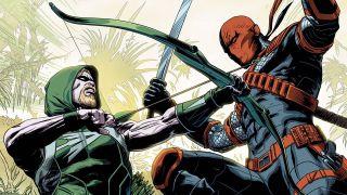 Image of Green Arrow fighting Deathstroke