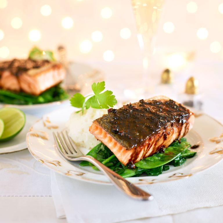 Malaysian Salmon with Sticky Rice and Greens