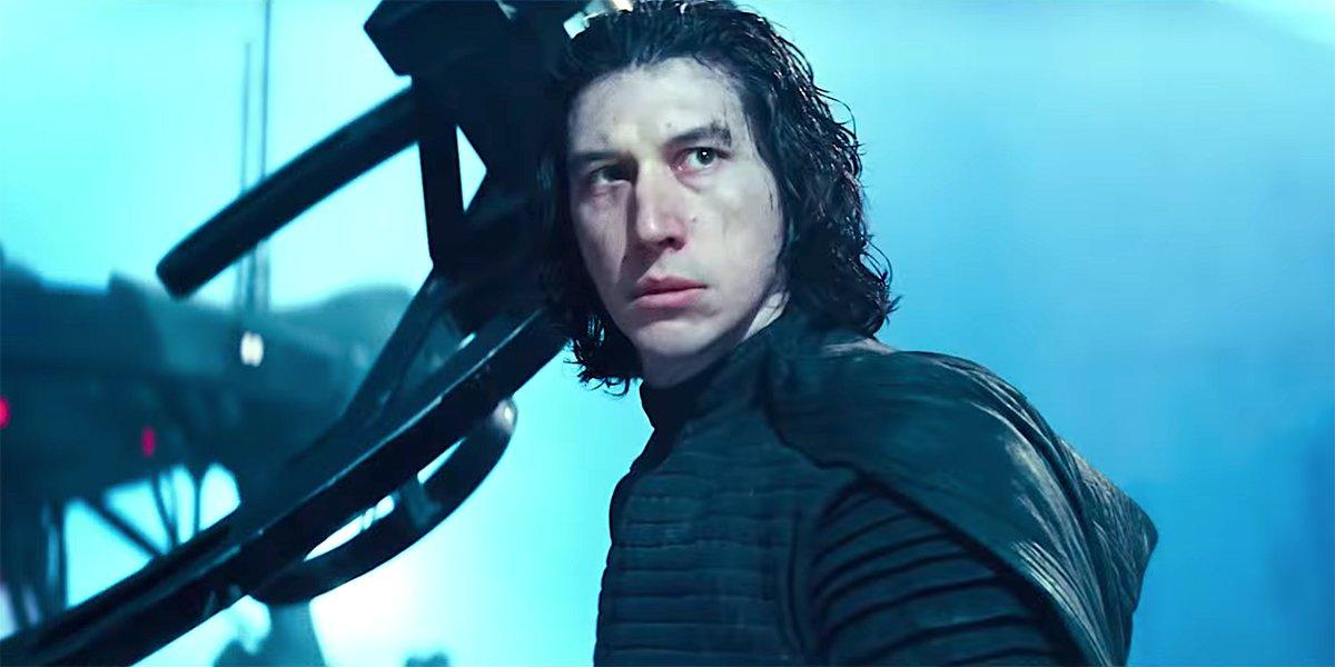 Adam Driver as Kylo Ren blue background Star Wars: The Rise of Skywalker