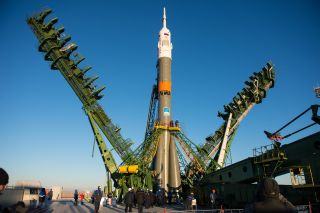 A Russian Soyuz rocket rolls out to its launch pad at Baikonur Cosmodrome in Kazakhstan ahead of the launch of three new members of the International Space Station's Expedition 42/43 crew. Liftoff is set for Nov. 23, 2014.