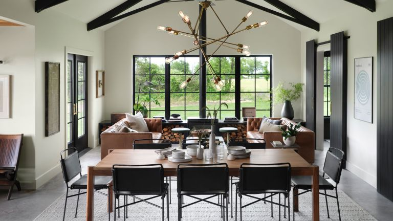 living area from fixer upper in an industrial cottage style