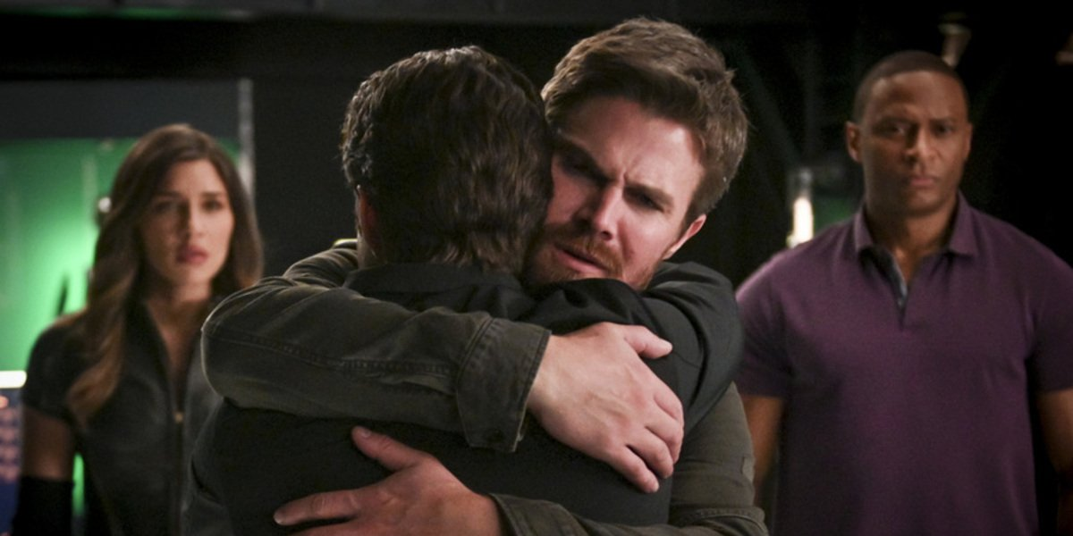 arrow season 8 episode 4 oliver hugging adult william bunker the cw