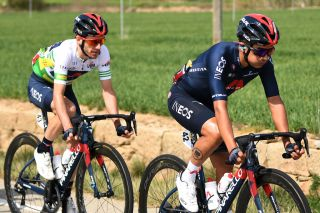 MANRESA SPAIN MARCH 26 Adam Yates of United Kingdom and Team INEOS Grenadiers Green Leader Jersey Richard Carapaz of Ecuador and Team INEOS Grenadiers during the 100th Volta Ciclista a Catalunya 2021 Stage 5 a 2015km stage from La Pobla De Segur to Manresa 220m VoltaCatalunya100 on March 26 2021 in Manresa Spain Photo by David RamosGetty Images