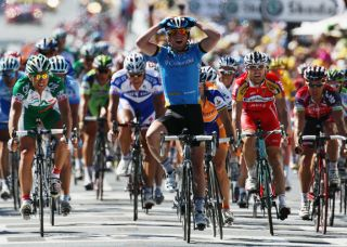 Mark Cavendish winning his first Tour de France stage in 2008