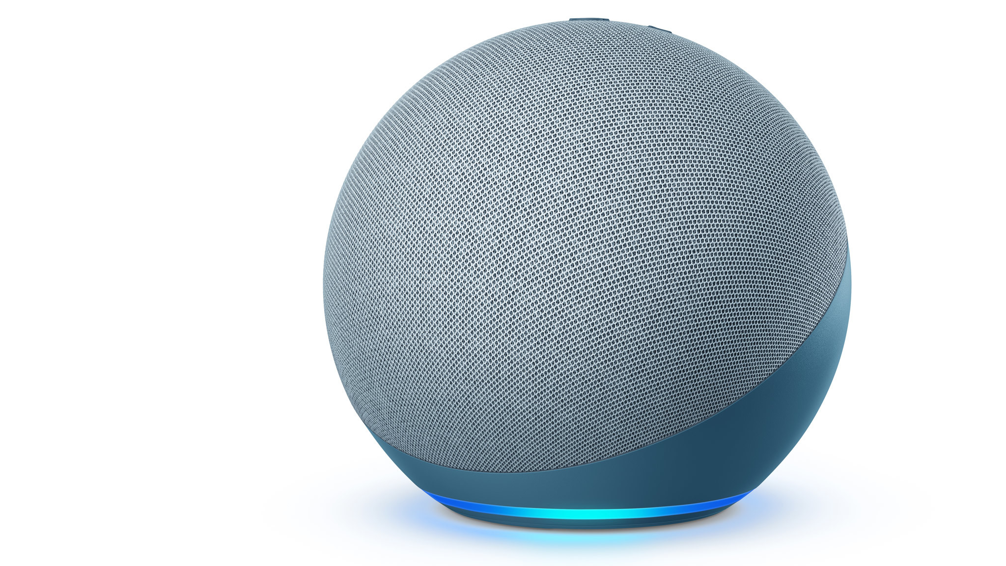 the amazon echo 2020 smart speaker with its light ring lit up in blue