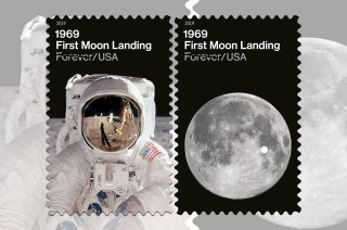 "The U.S. Postal Service has available a number of new collectible products featuring the ""1969: First Moon Landing"" stamps."
