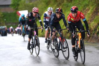 SESTOLA ITALY MAY 11 Hugh Carthy of United Kingdom and Team EF Education Nippo Egan Arley Bernal Gomez of Colombia and Team INEOS Grenadiers Mikel Landa Meana of Spain and Team Bahrain Victorious during the 104th Giro dItalia 2021 Stage 4 a 187km stage from Piacenza to Sestola 1020m girodiitalia Giro UCIworldtour on May 11 2021 in Sestola Italy Photo by Tim de WaeleGetty Images