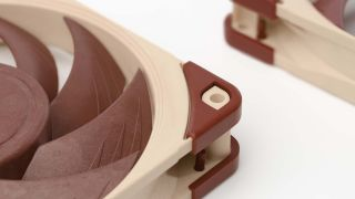 Image of Noctua NF-A12x25 fans zoomed in close.