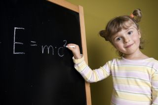 A smart child with E=MC2 equation