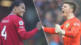 Liverpool vs Burnley live stream — Virgin van Dijk of Liverpool and Nick Pope of Burnley