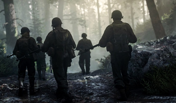 Soldiers marching in Call of Duty WWII