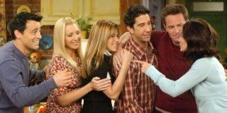 Matt LeBlanc, Lisa Kudrow, Jennifer Aniston, David Schwimmer, Matthew Perry, and Courteney Cox in Fr