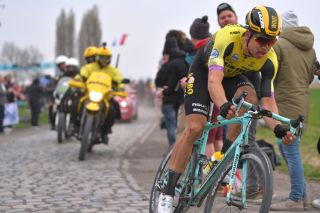 Wout Van Aert (Jumbo-Visma) chases back from his crash at the 2019 Paris-Roubaix