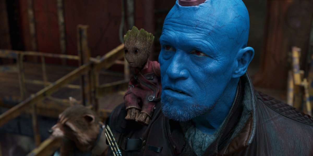 Michael Rooker's Yondu with Groot and Rocket Raccoon.