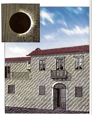 This historic drawing depicts shadow bands, a hard-to-spot phenomenon that sometimes appears during solar eclipses.