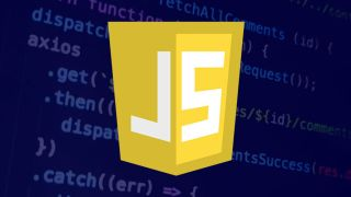 Javascript logo on a background of code