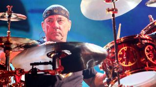 Rush drummer and lyricist Neil Peart performing at the AT&T Center in San Antonio, Texas on November 30, 2012.