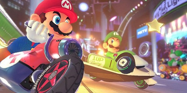Mario and Luigi race in Mario Kart.