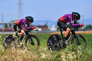 Anna Van Der Breggen rides with Team SD Worx teammate Niamh Fisher-Black in the TTT