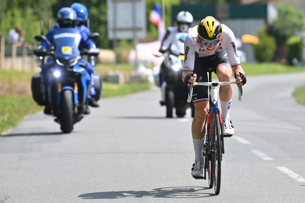 Slovenian Matej Mohoric of Bahrain Victorious pictured in action during stage 19 of the 108th edition of the Tour de France cycling race from Mourenx to Libourne 207 km in France Friday 16 July 2021 This years Tour de France takes place from 26 June to 18 July 2021BELGA PHOTO DAVID STOCKMAN Photo by DAVID STOCKMANBELGA MAGAFP via Getty Images