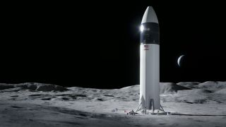 NASA has picked SpaceX's Starship spacecraft, seen here in an artist's depiction, to land Artemis astronauts on the moon.