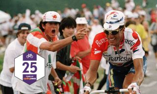 A Basque cycling fan shouts at Miguel Indurain during the 1996 Tour de France