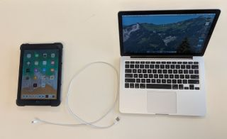 iOS laptop and phone