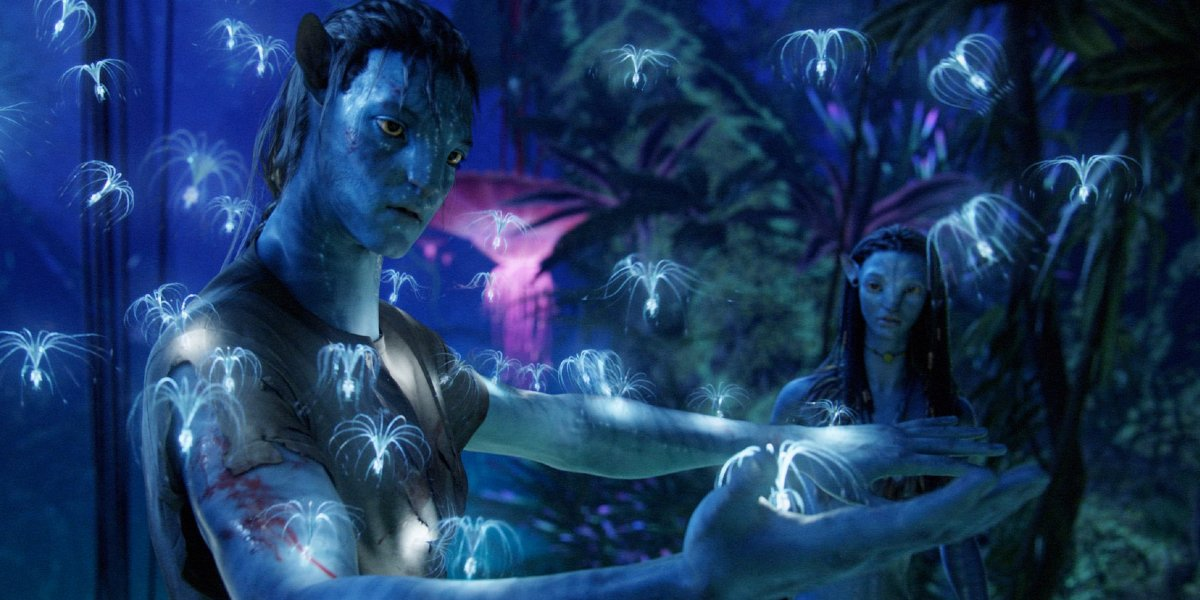 Avatar Jake and Neytiri in the forest at night