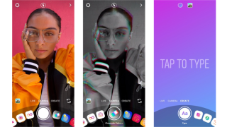 Screenshots of Instagram camera with a new effects wheel
